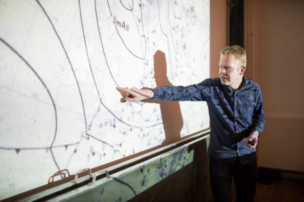 NOS-weerman Peter Kuipers Munneke geeft een lezing over het weer op Sonnenborgh