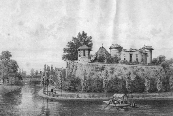 Een prent van de Sterrenwacht en het KNMI die op 1854 op bastion Sonnenborgh werden gebouwd